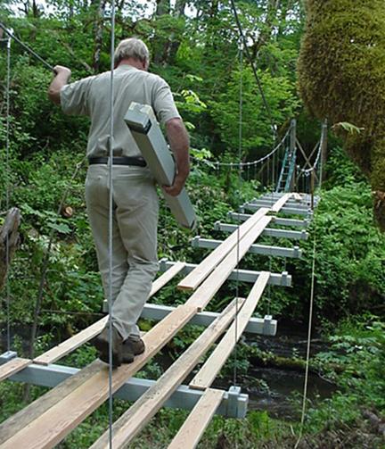 building a small cable suspension bridge | wildcat man
