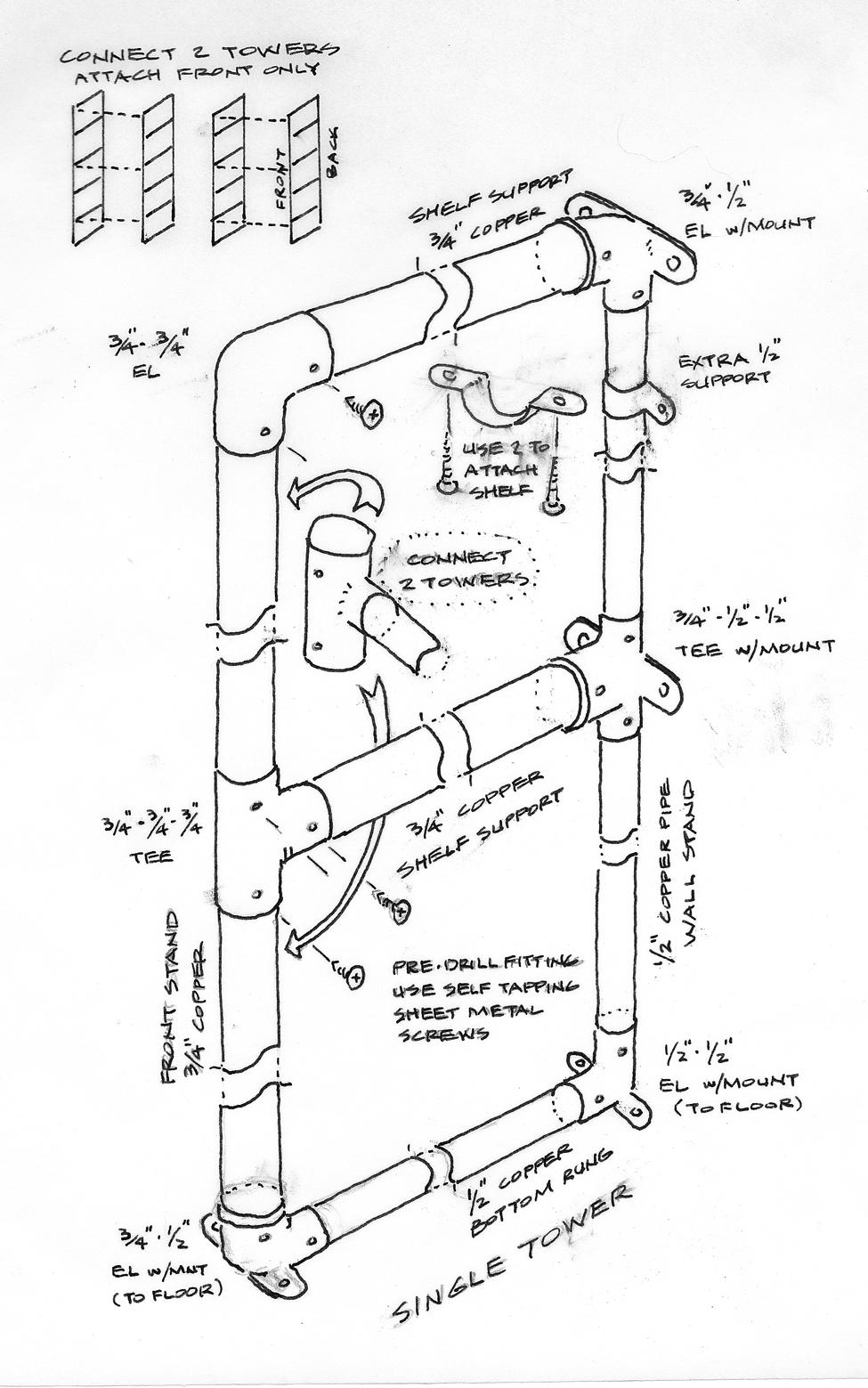 copper pipe shelf system