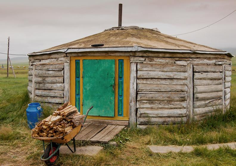 Wooden Mongolian yurt
