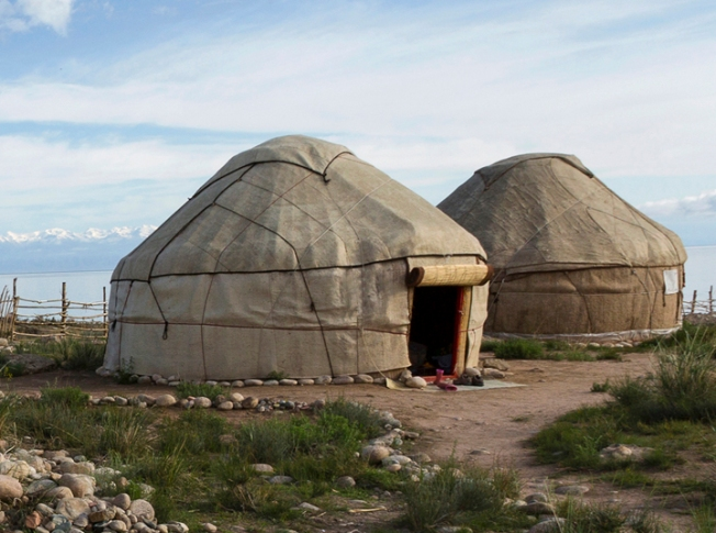 Nomadic tents known as Yurt at the Issyk Kul Lake, Kyrgyzstan